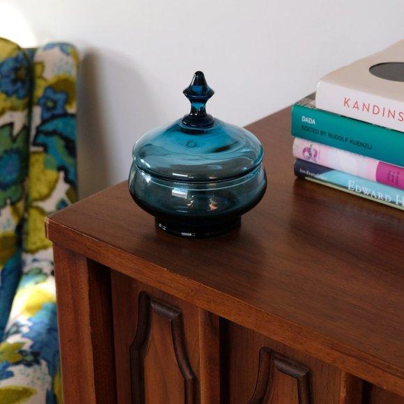 Mid Century Modern Blue Glass Candy Dish